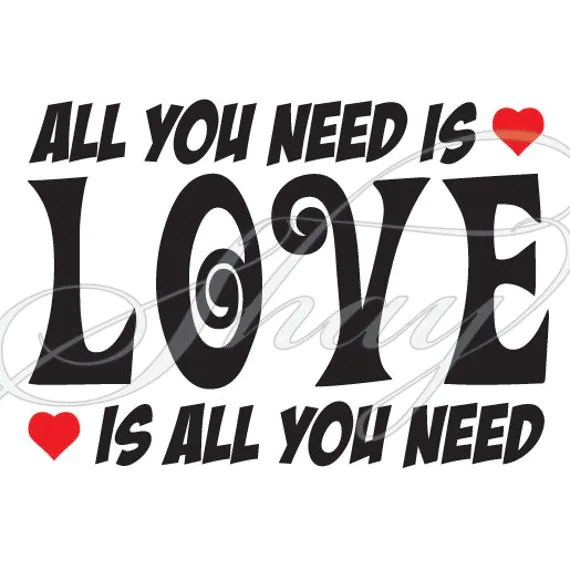 Download All You Need is Love SVG cut file for Silhouette and other