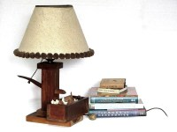 Mid Century Wooden Watering Pump Lamp Pom Pom Shade by ...