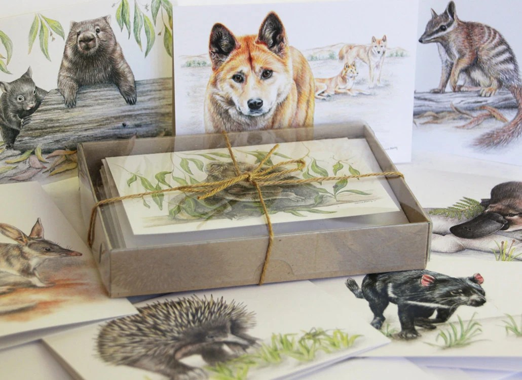 Australian ANIMAL Greeting Cards GIFT BOX Of 8 Unique
