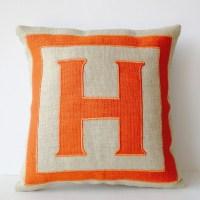 Personalized Monogram throw pillow Burlap pillows Orange