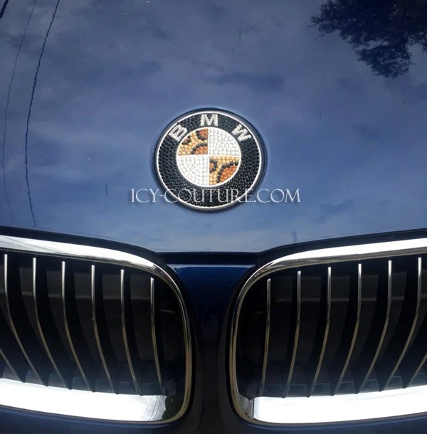 Leopard Bling Bmw Emblem Custom Bedazzled Crystal By