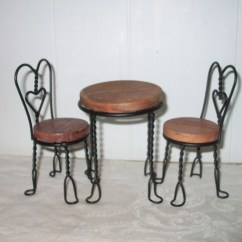 Ice Cream Parlor Table And Chairs Wing Back Chair Slip Covers Doll Wood By