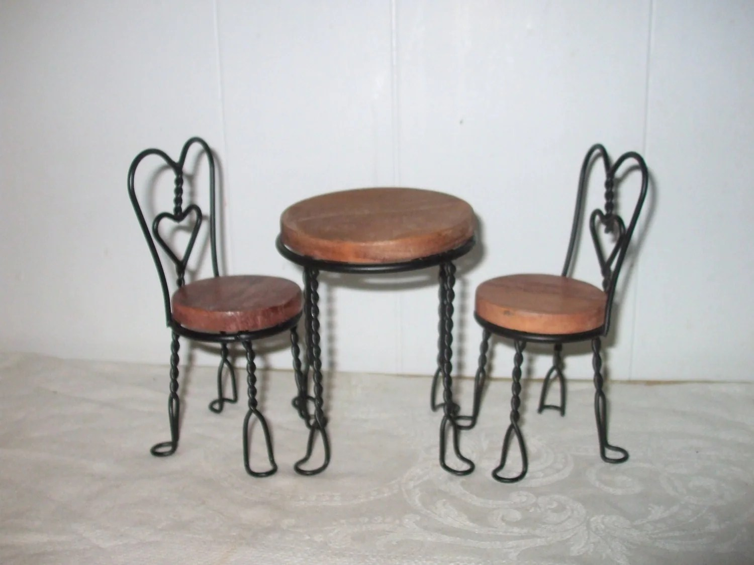 Ice Cream Table And Chairs Doll Ice Cream Parlor Table And Chairs Wood And By