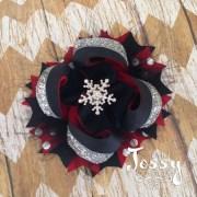 snowflake hair bow red black