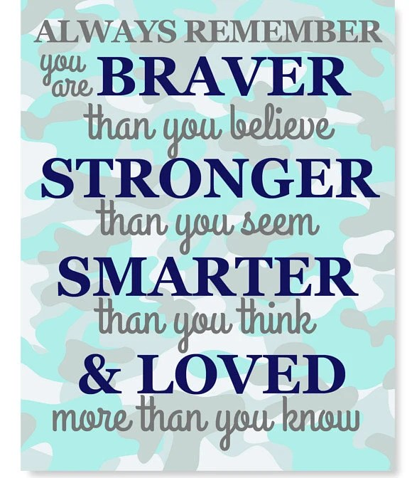 Always Remember You Are Braver Than You Believe Quote Nursery