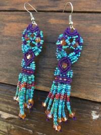 Micro Macrame Tassel Earrings Purple Teal Pink