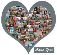 Heart Shape Photo Collage Vinyl Wall Art