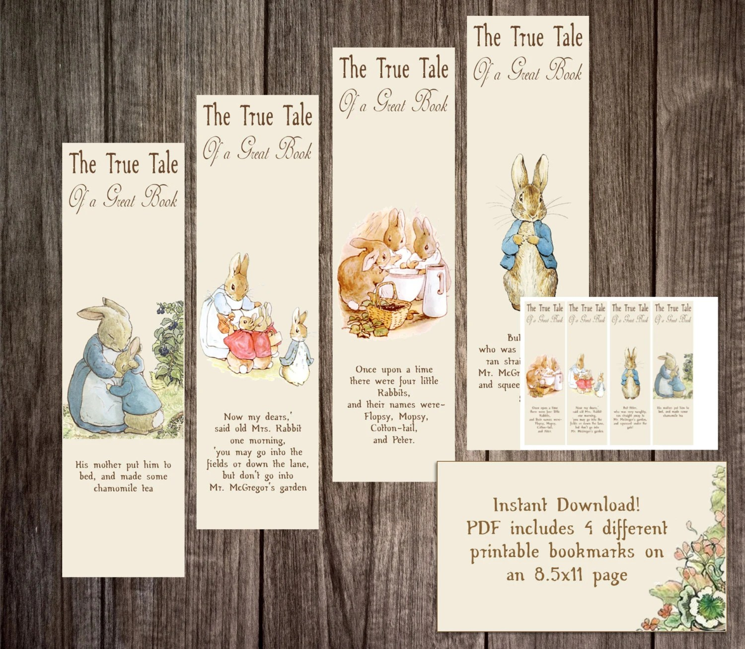 Printable Peter Rabbit Bookmarks For A Baby Shower Story Book