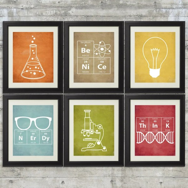 Nerdy Science Art Set Of 6 8x10 Instant