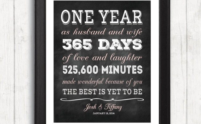 One Year Anniversary Gift For Wife For Husband Personalized