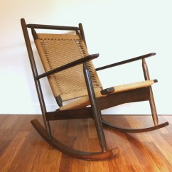 Woven Rocking Chair Xkcd Office Hans Wegner Danish Style Rope Cord Vintage