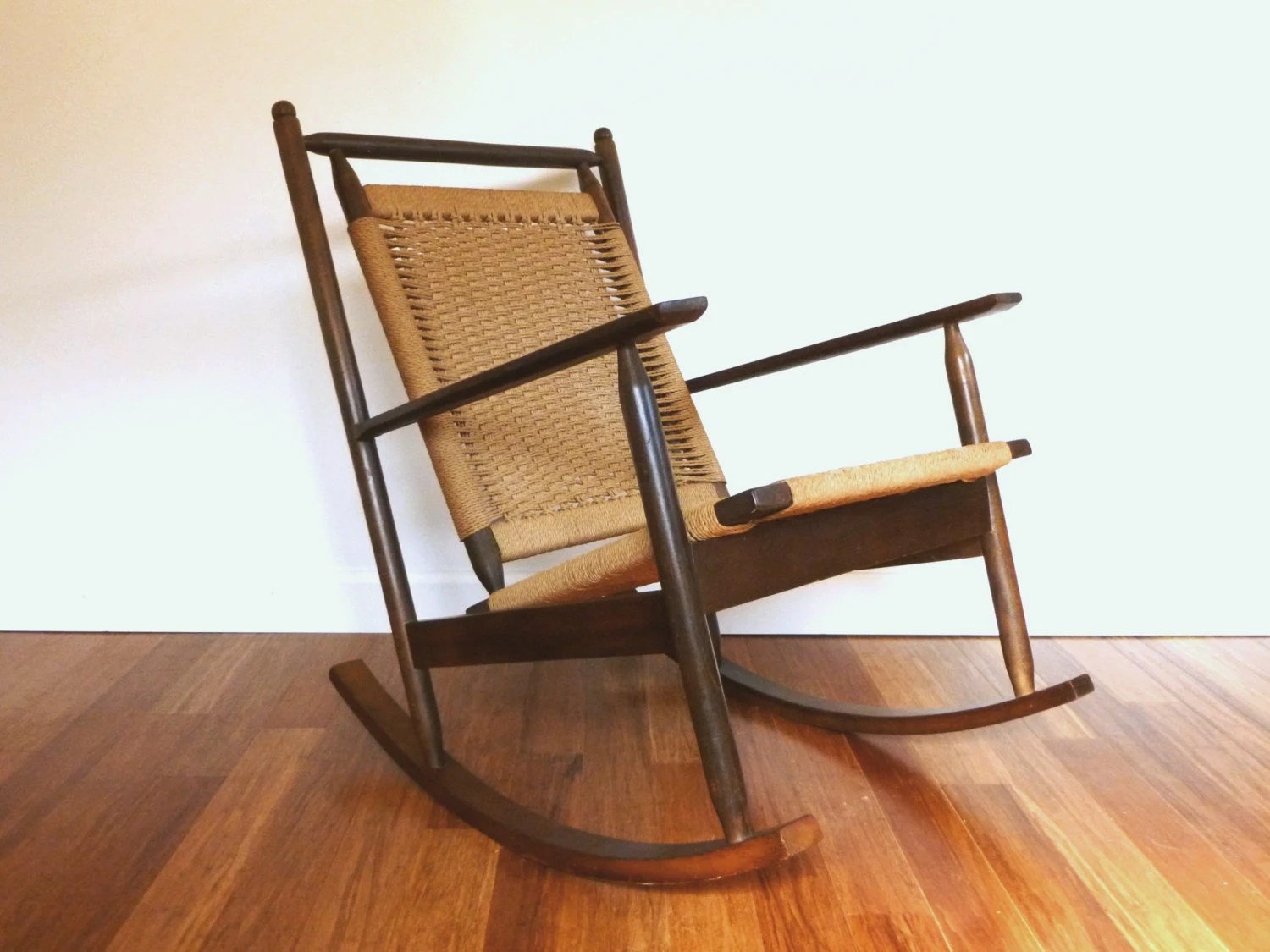 Danish Rocking Chair Hans Wegner Danish Style Woven Rope Cord Rocking Chair Vintage
