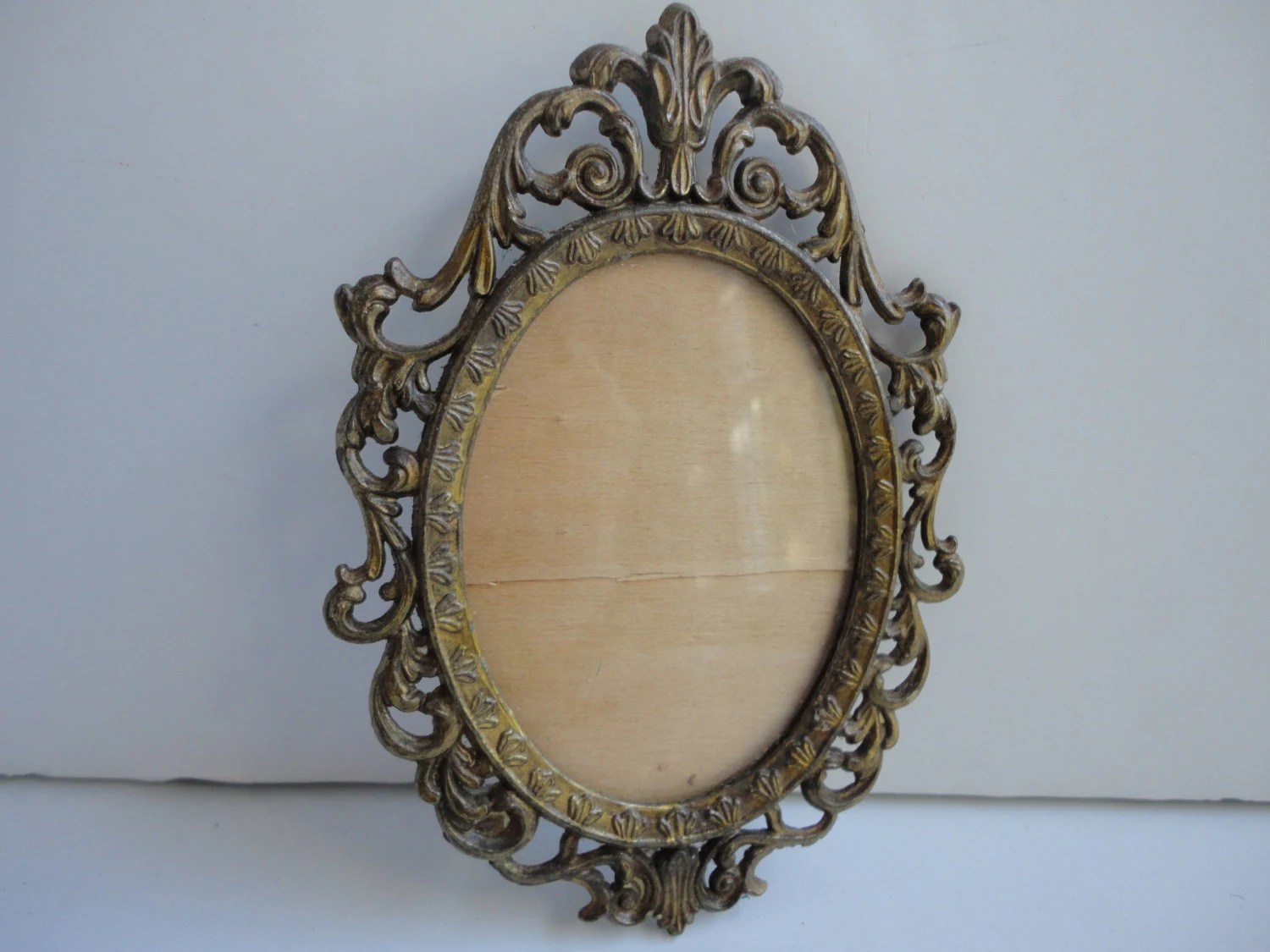 Small Vintage Oval Antique Gold Metal Frame By