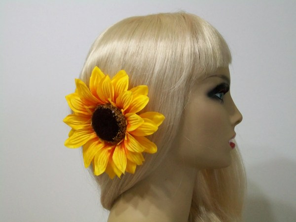 sunflower hair clip headpiece
