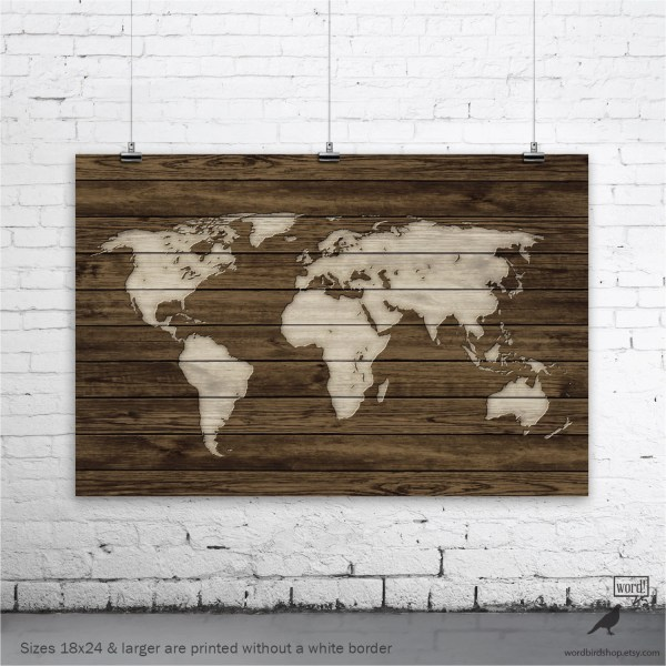 World Map Poster Rustic Decor Wall