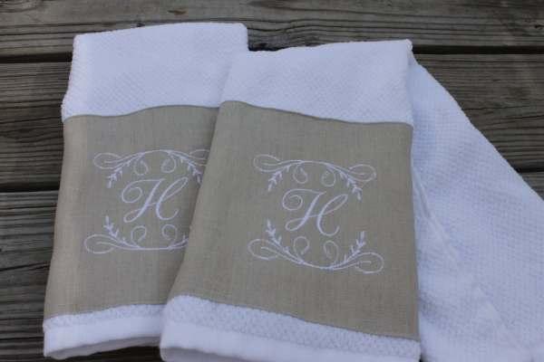 2 Monogrammed Kitchen Towels Hand