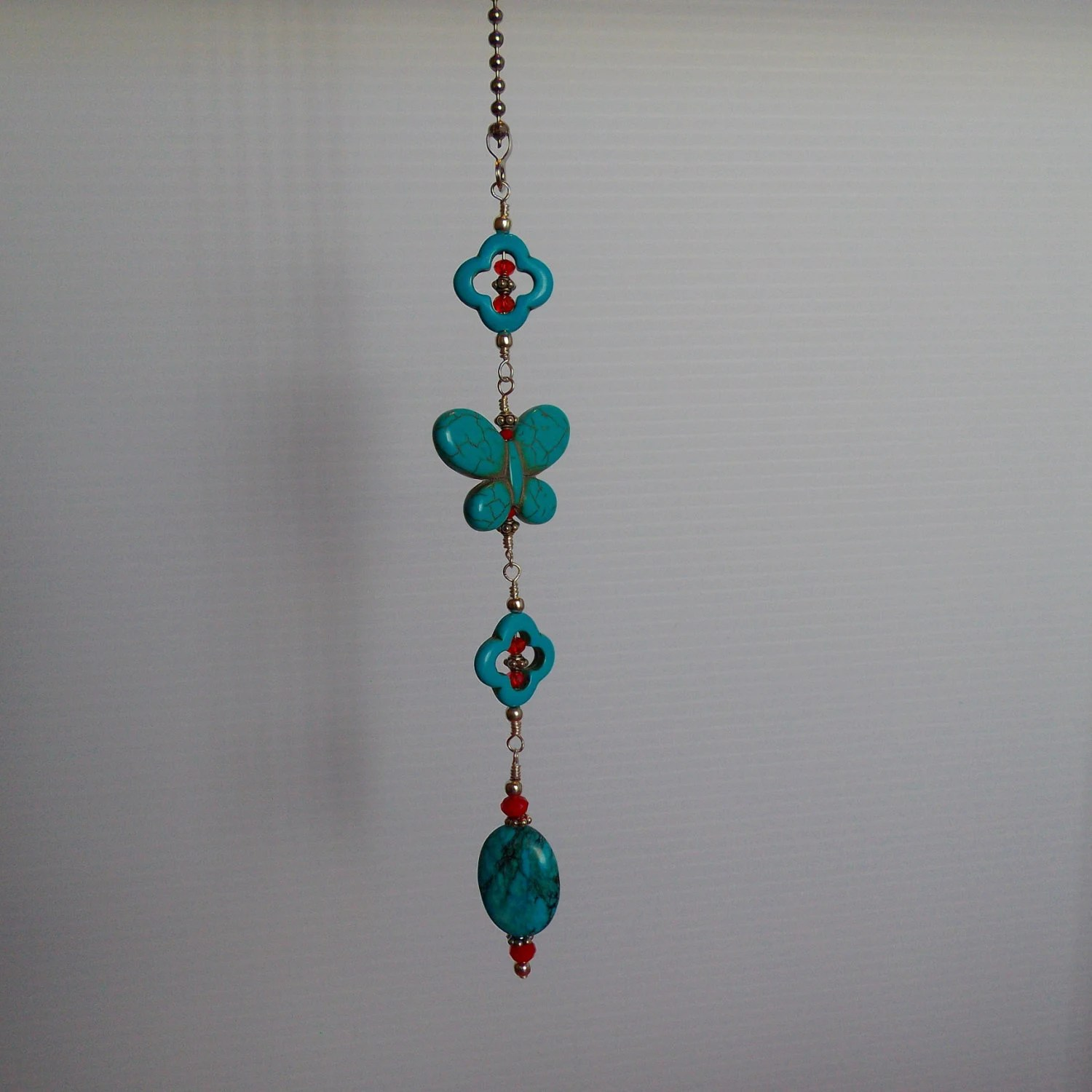 Turquoise Butterfly Ceiling Fan Pull by ACatsEye on Etsy