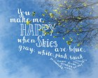 Blue Spring Printable You make me happy blue sky 8x10 digital typography romantic diy card wall art for boyfriend girlfriend nursery dorm