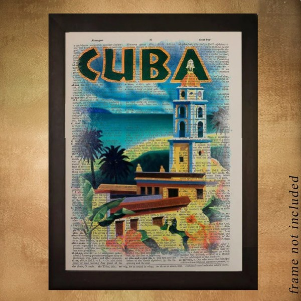 Cuba Dictionary Art Print Vintage Cuban Travel Poster Havana
