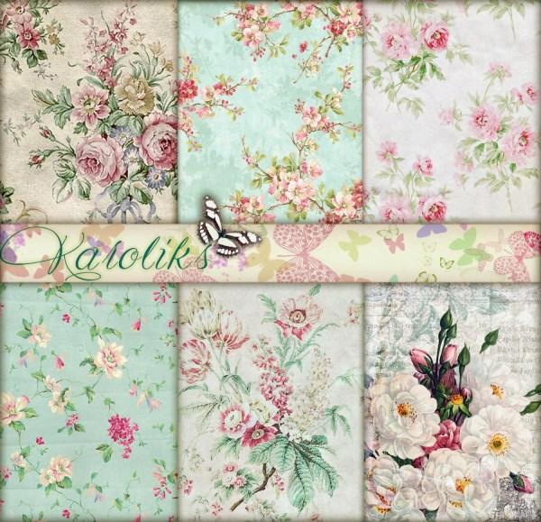 Mint Wedding Digital Floral Paper Vintage