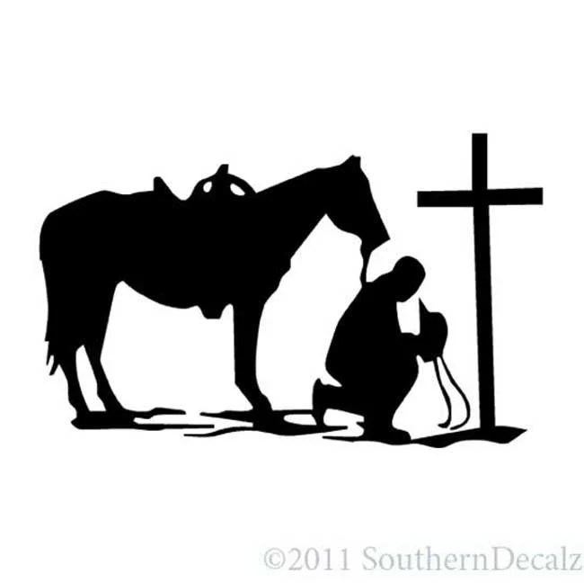 Cowboy Horse Prayer Cross Vinyl Decal Sticker 6 long