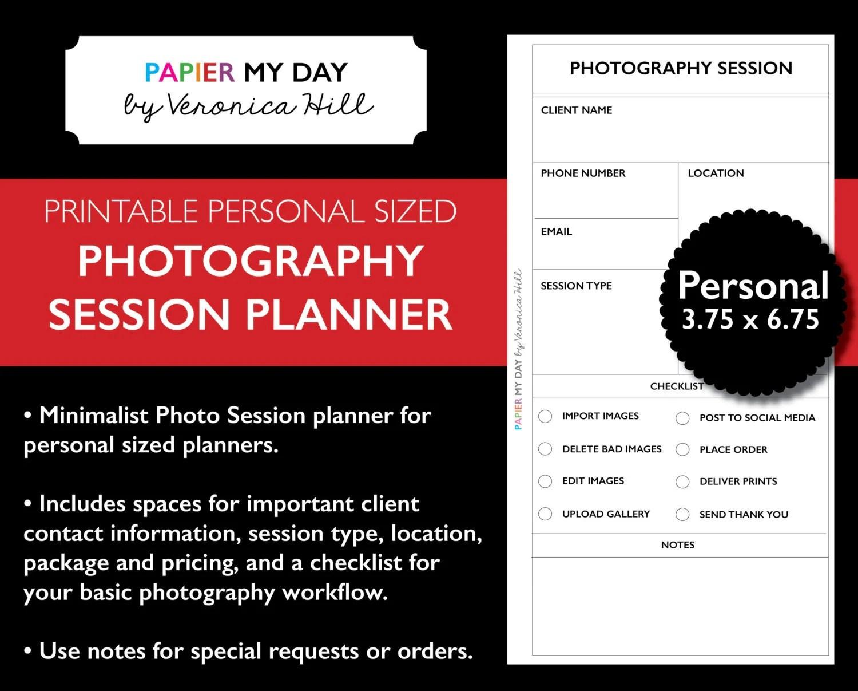 Filofax Personal Photography Planner Printable