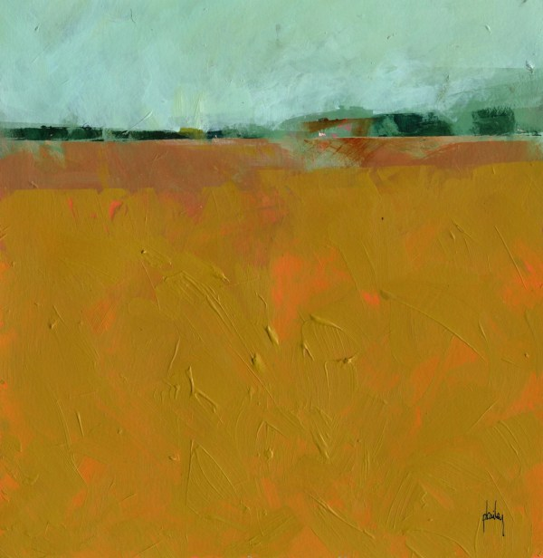 Original Abstract Minimalist Landscape Painting Copper