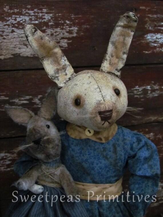 Primitive Early Vintage Style Easter Folk Art Bunny Rabbit