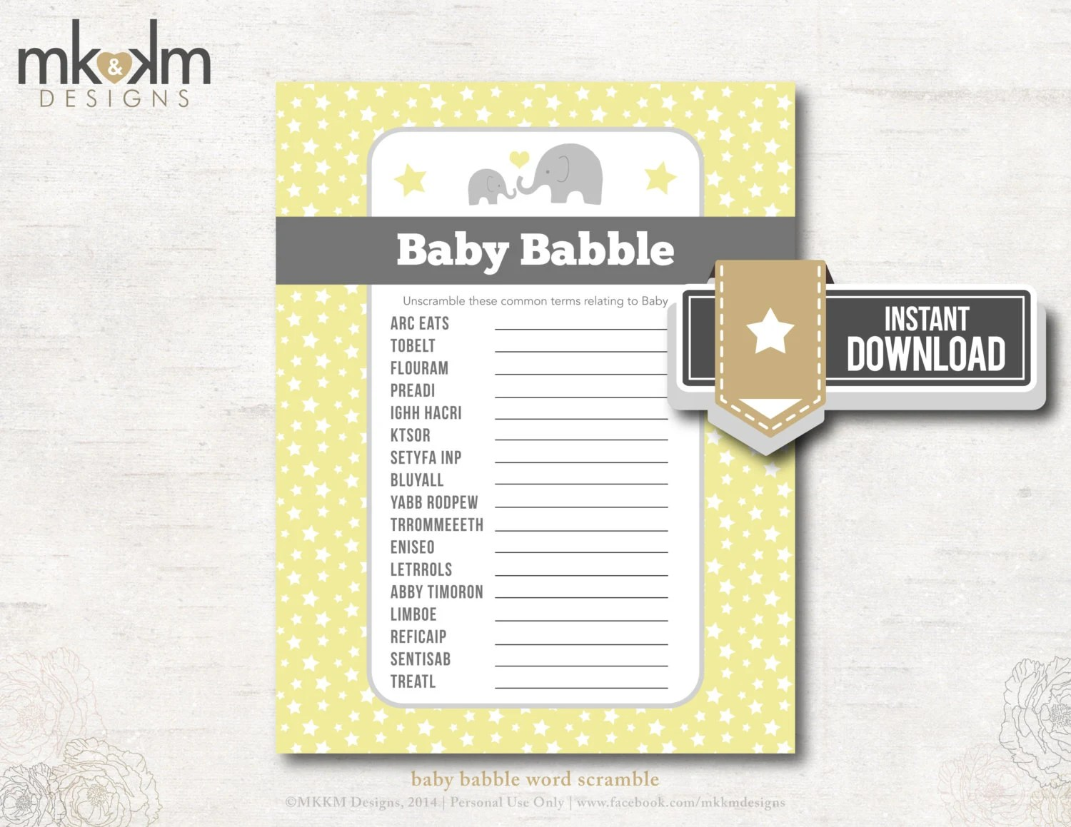 Baby Babble Word Scramble Oh Baby Elephant Baby By Mkkmdesigns