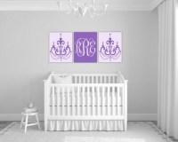 purple nursery monogram art | girls chandelier wall art ...