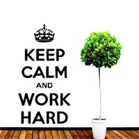Wall Decals Quote Keep Calm And Work Hard Vinyl Sticker Home