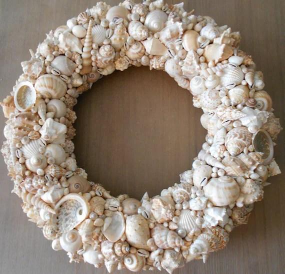 SeaShell Wreath Shell Wreath Beach Decor Beach Wedding