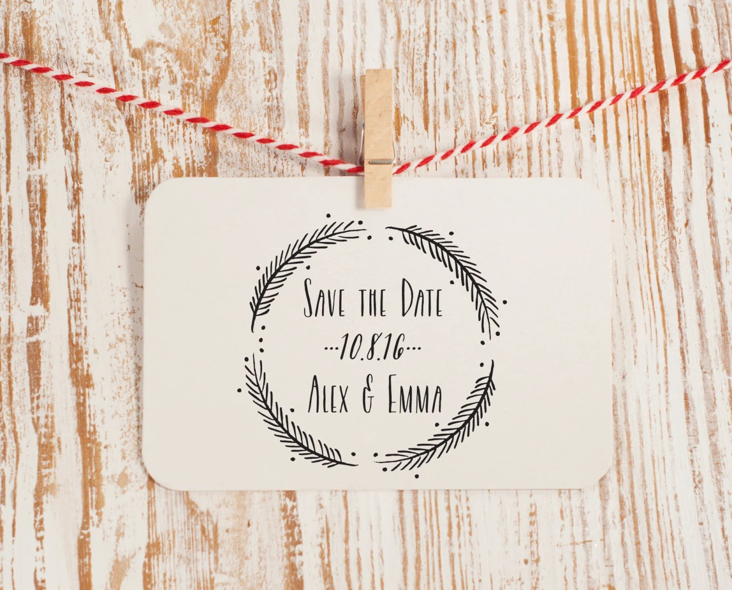 Custom Save The Date Stamp Wedding Stamp With Wreath Style No 49W OnePaperHeart