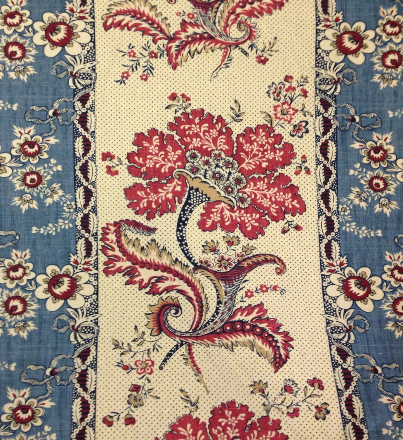 french country sofa fabric fast wiki red and blue panel drapery by