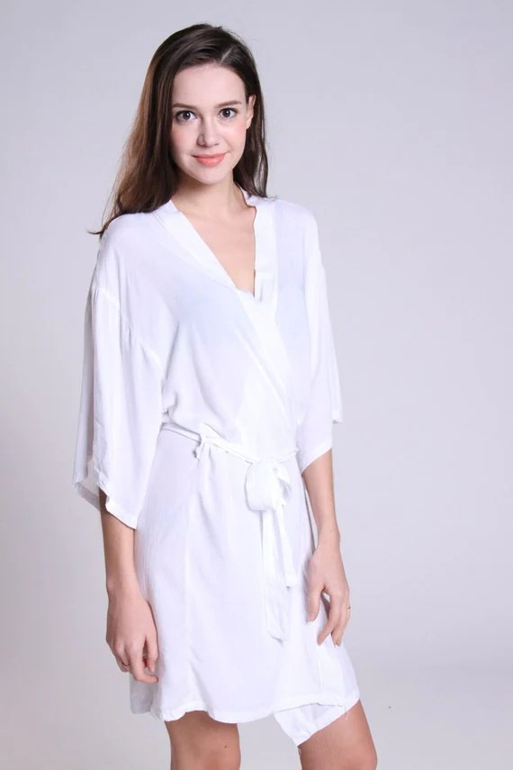 White cotton robe dressing gown honeymoon bridesmaid by ForBride