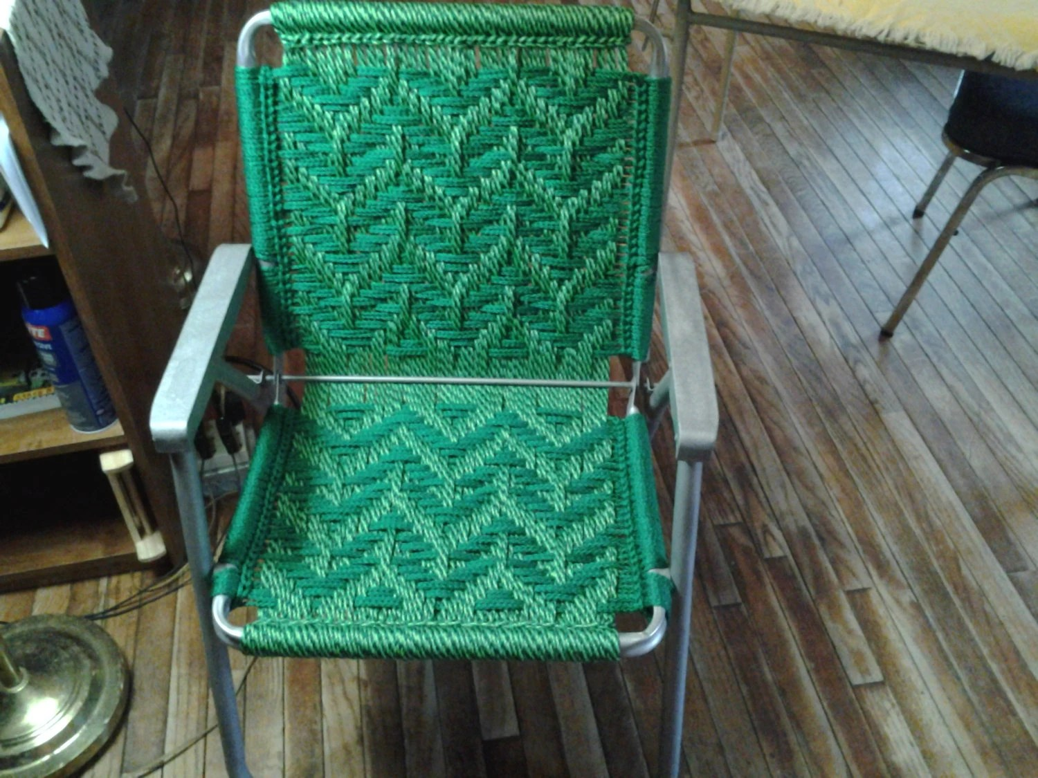 macrame lawn chair folding mechanism recycled frames woven chairs