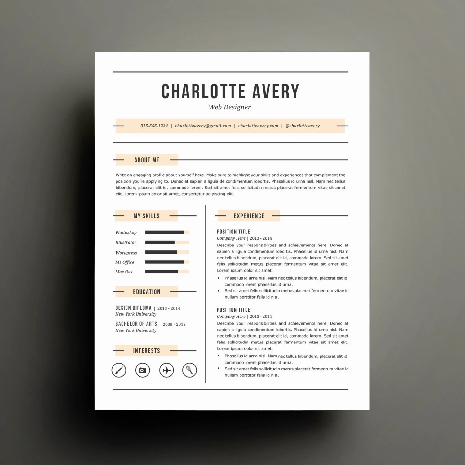 Diy Resume Template Resume Template And Cover Letter Template For Word Diy