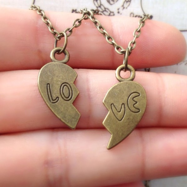 Set Of Two Love Heart Necklace Couples Jewelry Matching