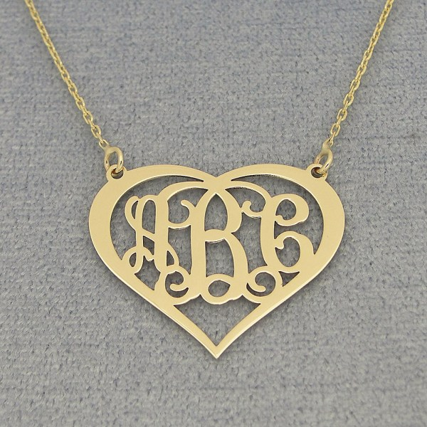10kt 14kt Solid Gold 3 Initials Heart Monogram Necklace 1