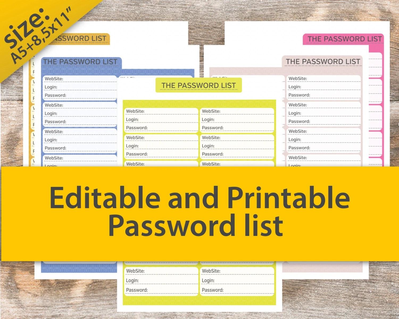 Password Log Password Tracker Password Log Password Keeper