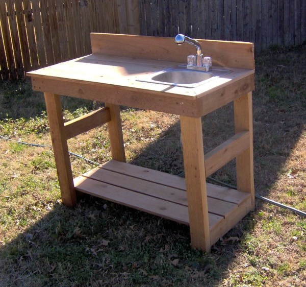 Outdoor Garden Potting Bench with Sink