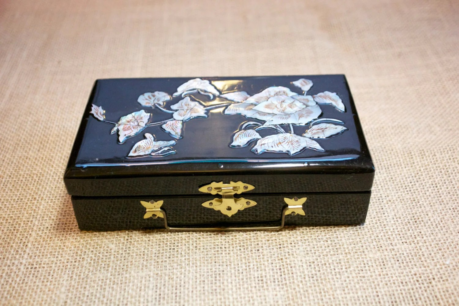 Vintage Korean Black Lacquer And Mother Of Pearl Inlay