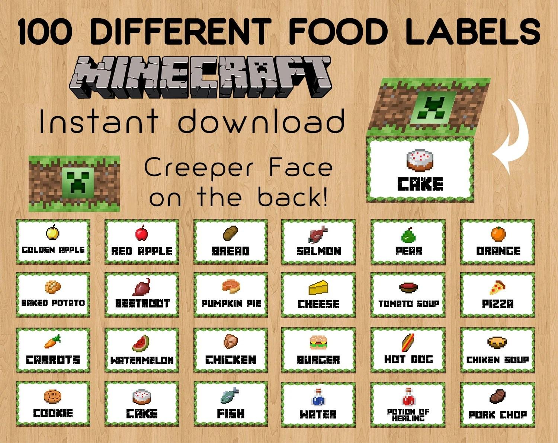 Minecraft Food Tent Cards Minecraft Food By Celebrationshoppy