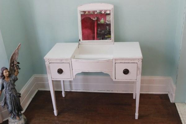 Vintage Vanity Desk White Shabby Chic Distressed Beach