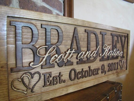 Personalized Wedding Gift Family Name Signs Custom Wooden