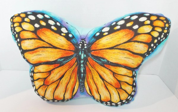 Butterfly Pillow Orange Monarch Cushion Plush