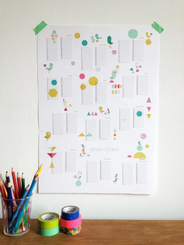 Perpetual Calendar Birthday Poster Size A3 Instant