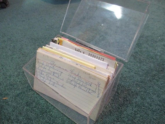 sale vintage retro clear plastic recipe box recipes metal hinged
