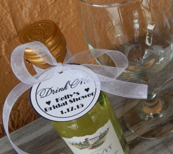 Mini Wine Bottle Custom 2 Favor Tags