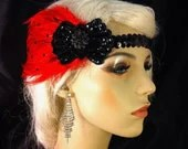 Gatsby Headband, Flapper Headband, Downton Abbey, 1920s Head Piece, Art Deco Headband, Black and Red, Speakeasy